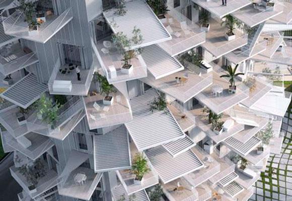 El árbol blanco, el edificio de los superbalcones