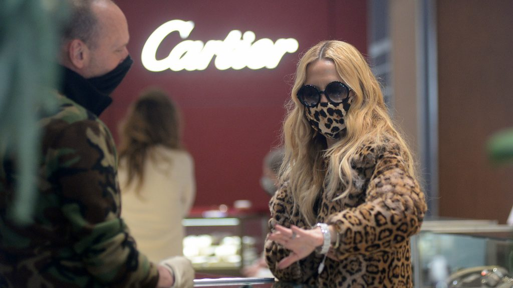 Designer Rachel Zoe shopping at Cartier store in Aspen Colorado